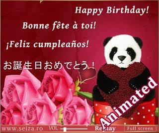 Ursuletul panda iti ureaza La multi ani!- felicitare animata