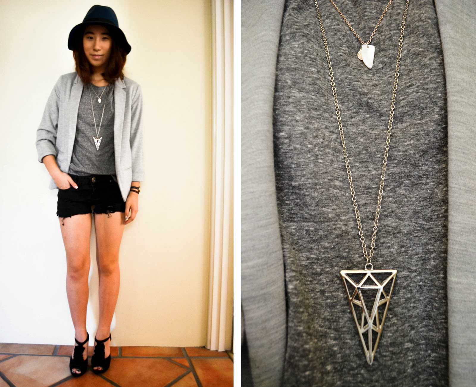 outfit inspiration greyscale grey blue hat fedora layer necklace blazer distressed shorts diy heels black silver casual