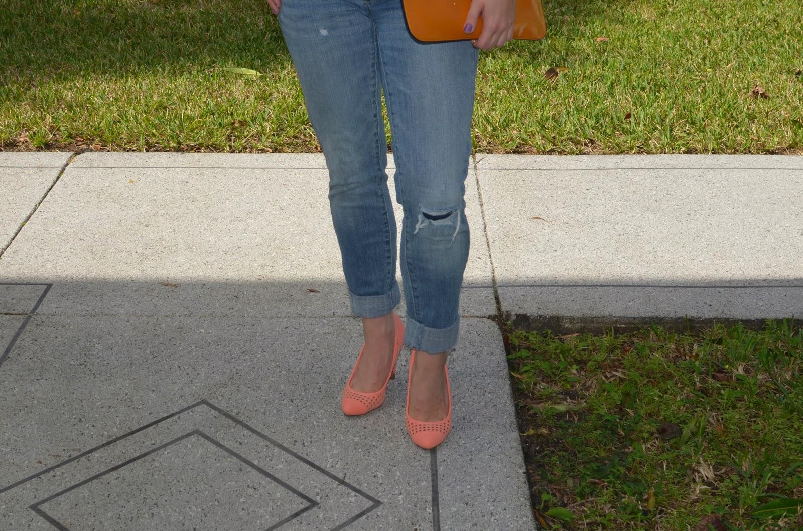orange heels - boyfriend jeans
