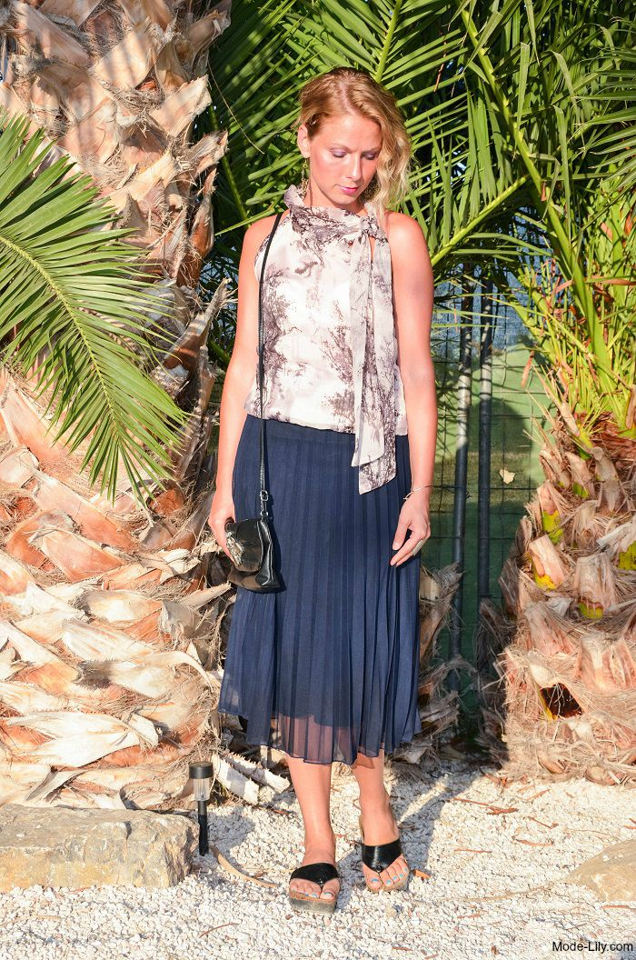 Holiday Outfit Floaty top and navy pleated midi skirt