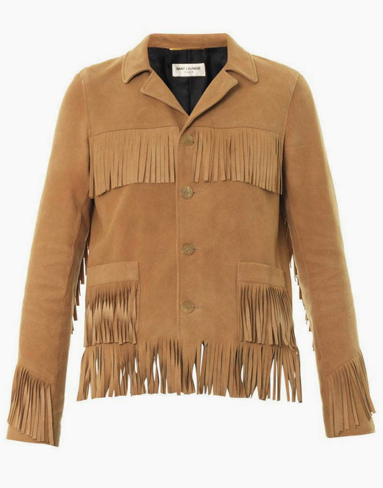 Saint Laurent suede fringe jacket
