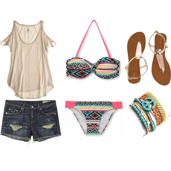 Mini skirt, shirt, blouse, bikini and sandals for summers