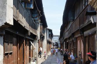 A narrow street scene in Wuzhen, Zhejiang, China