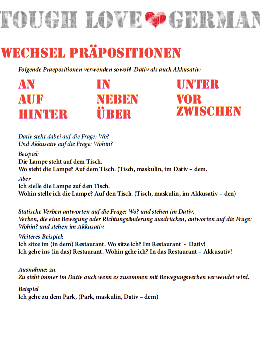 wechsel prposition deutsch lernen - Praposition Beispiel