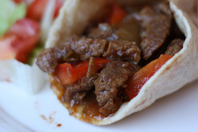 Slow Cooked Chili Steak Fajitas recipe by Barefeet In The Kitchen