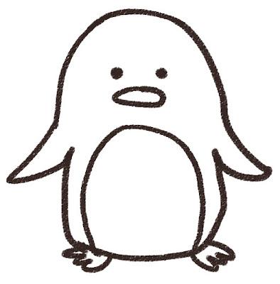 ペンギンのイラスト(動物) 白黒線画