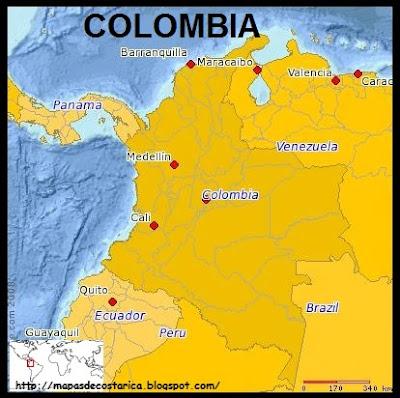 Mapa de COLOMBIA (PLANIGLOBE)