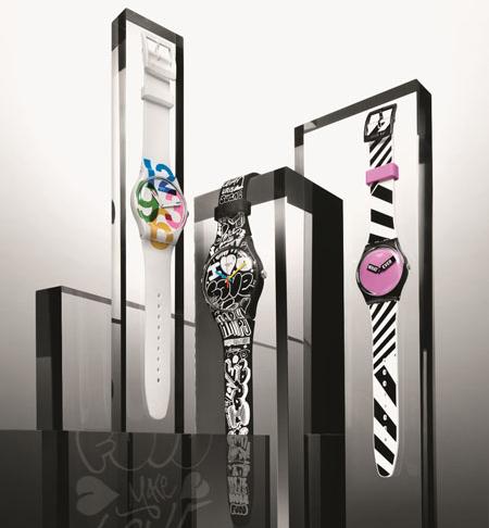 relógios de pulso Swatch coleção inverno pulseiras lisas e estampadas