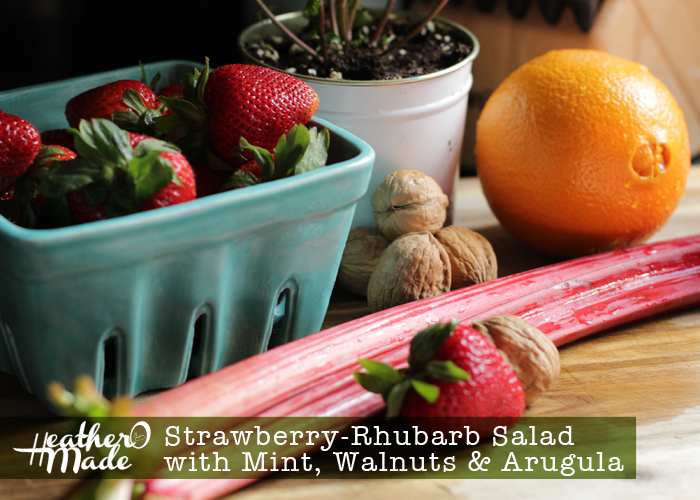 Strawberry-Rhubarb Salad with Mint, Walnuts, Arugula. recipe. lunch. dinner.