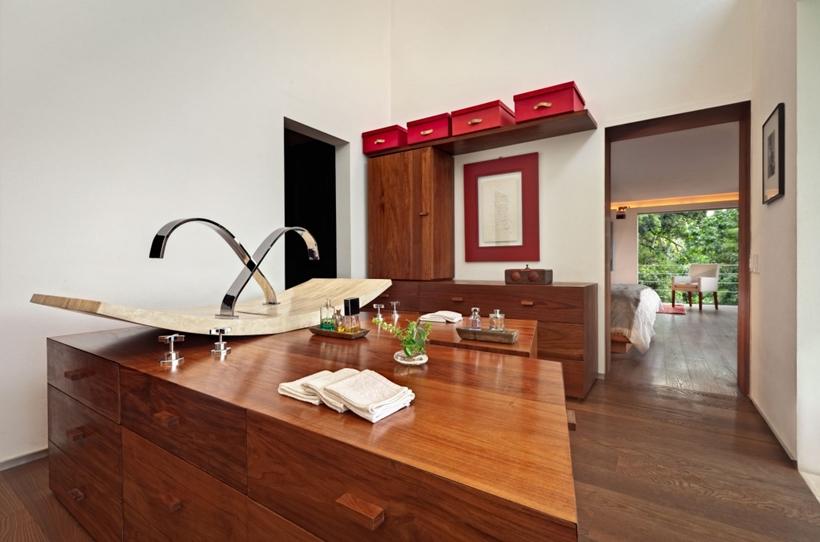 Bathroom island with modern minimalist sink