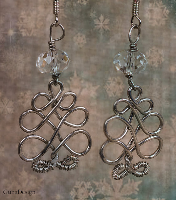 gunadesign guna andersone Celtic wire wrapped tree earrings