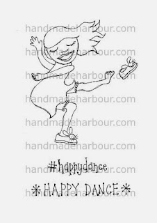 girl doing happy dance digital stamp