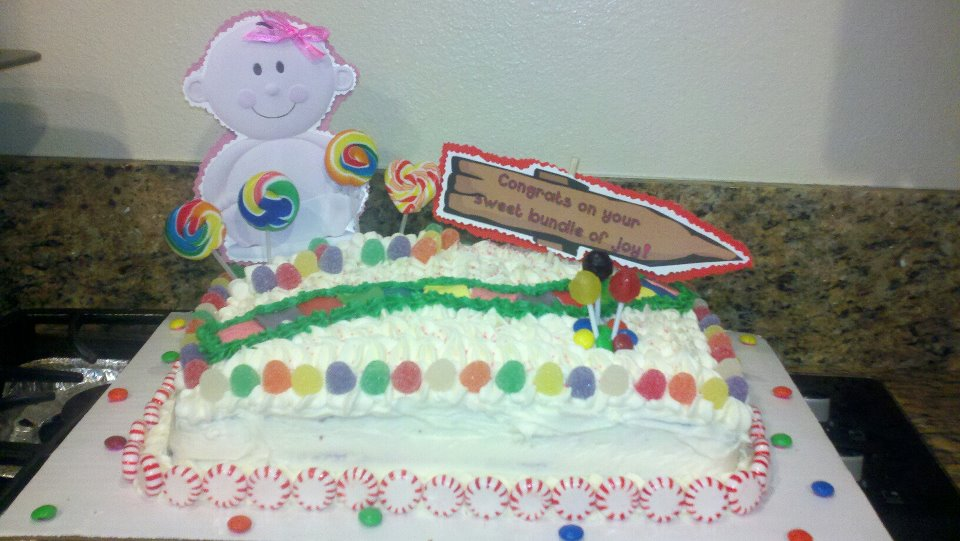 sweetums candyland themed baby shower cake