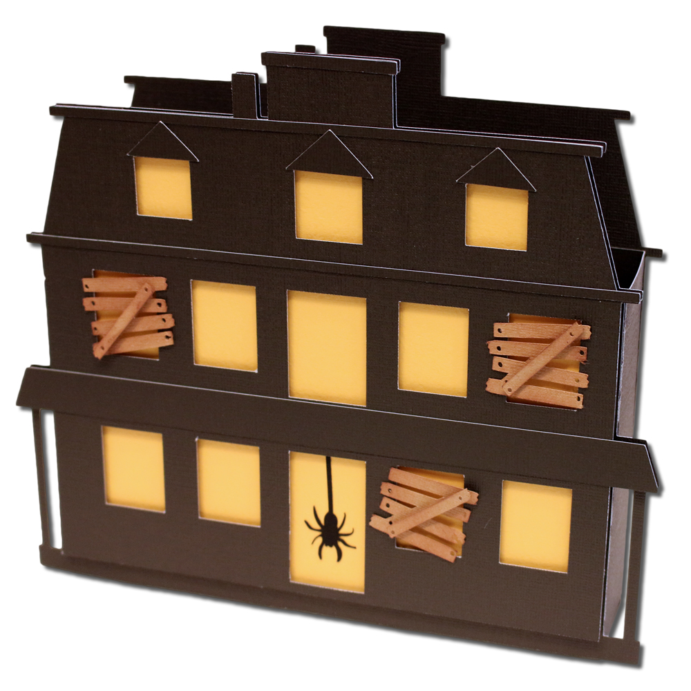 Bits of paper haunted house gift box for Used boxes for moving house