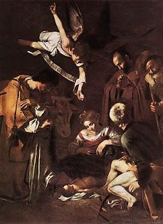 Michelangelo Caravaggio Natività con i Santi Lorenzo e Francesco d'Assisi