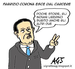 Corona, carcere, Toti, Marò satira vignetta