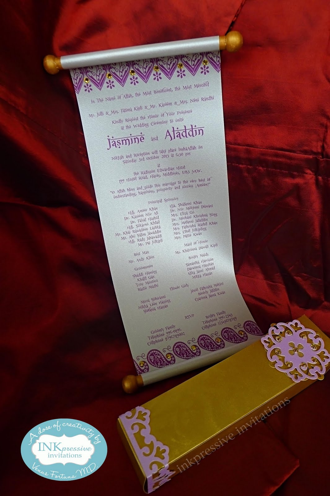 Beautiful Scroll Arabian Nights INKPRESSIVE INVITATIONS