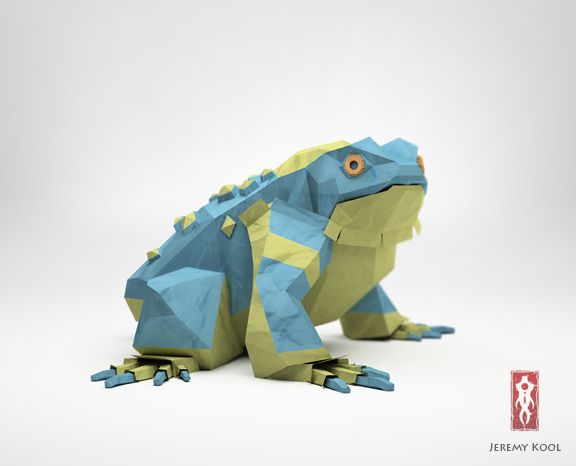 Paper Fox Project | 3D CGI Papercraft Squatting Toad-Frog Character Colored Blue And Green 