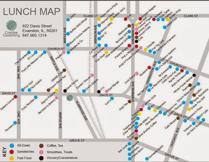 Evanston Newbie Creative Coworking Draws Downtown Evanston Lunch Map