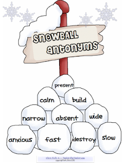photo of Snowball Antonyms, Free PDF, Teacher Park