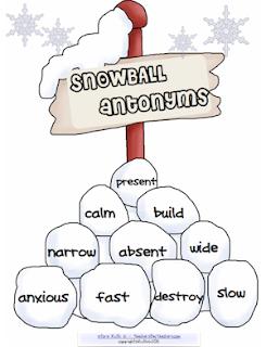 photo of Snowball Antonyms, Free PDF, Teacher Park