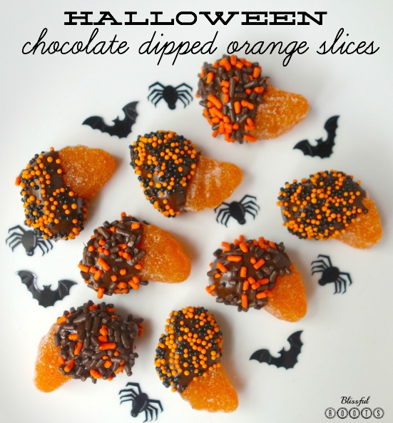 Halloween Chocolate Dipped Orange Slices @ Blissful Roots