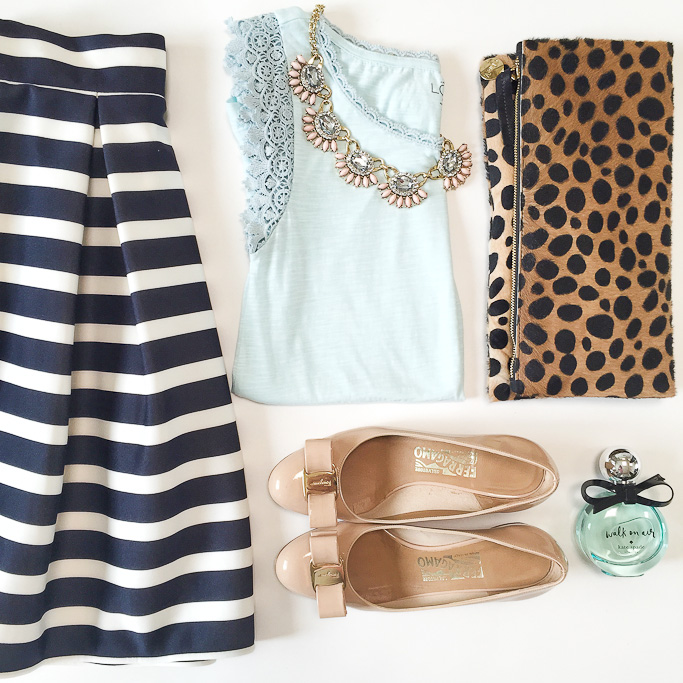 Chicwish striped pleated tulilp skirt LOFT scallop lace sleeve tee Clare V leopard foldover clutch, Ferragamo vara bow pumps Kate Spade walk on air parfume LOFT pink fan statement necklace