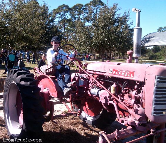 Katarina and a tractor