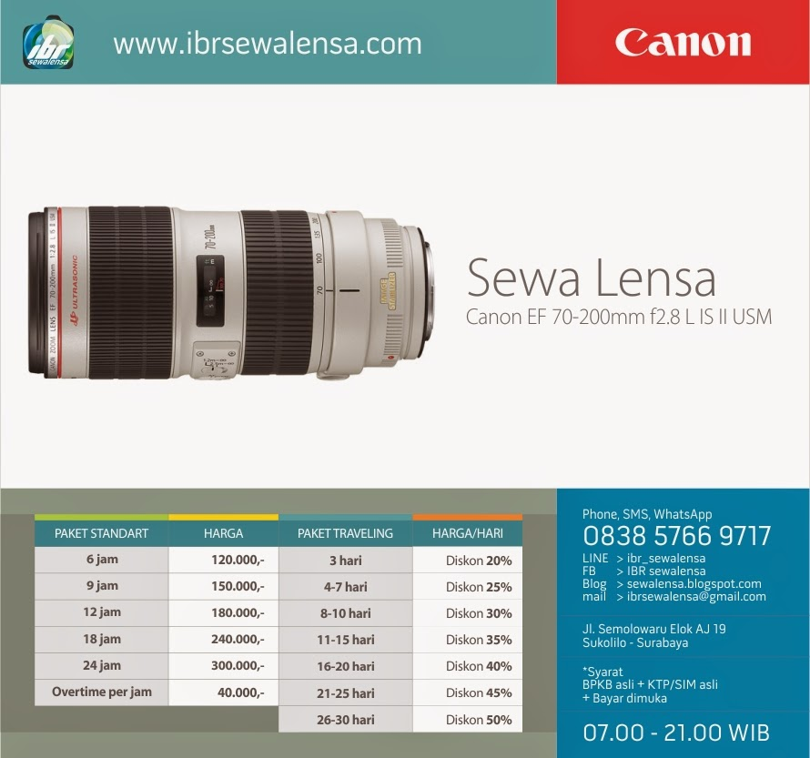 Harga sewa lensa Canon 70-200 mm F2.8 L IS II USM