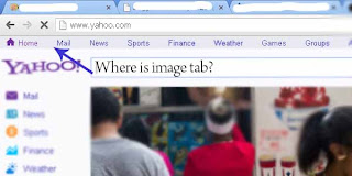 Yahoo home page with no image tab