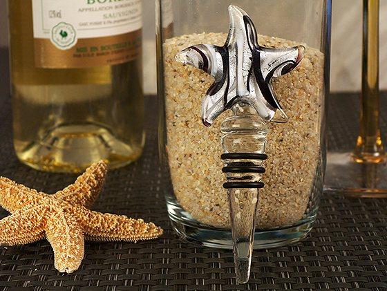 Murano Silver Black Glass Starfish Bottle Stopper Wedding Favors Beach