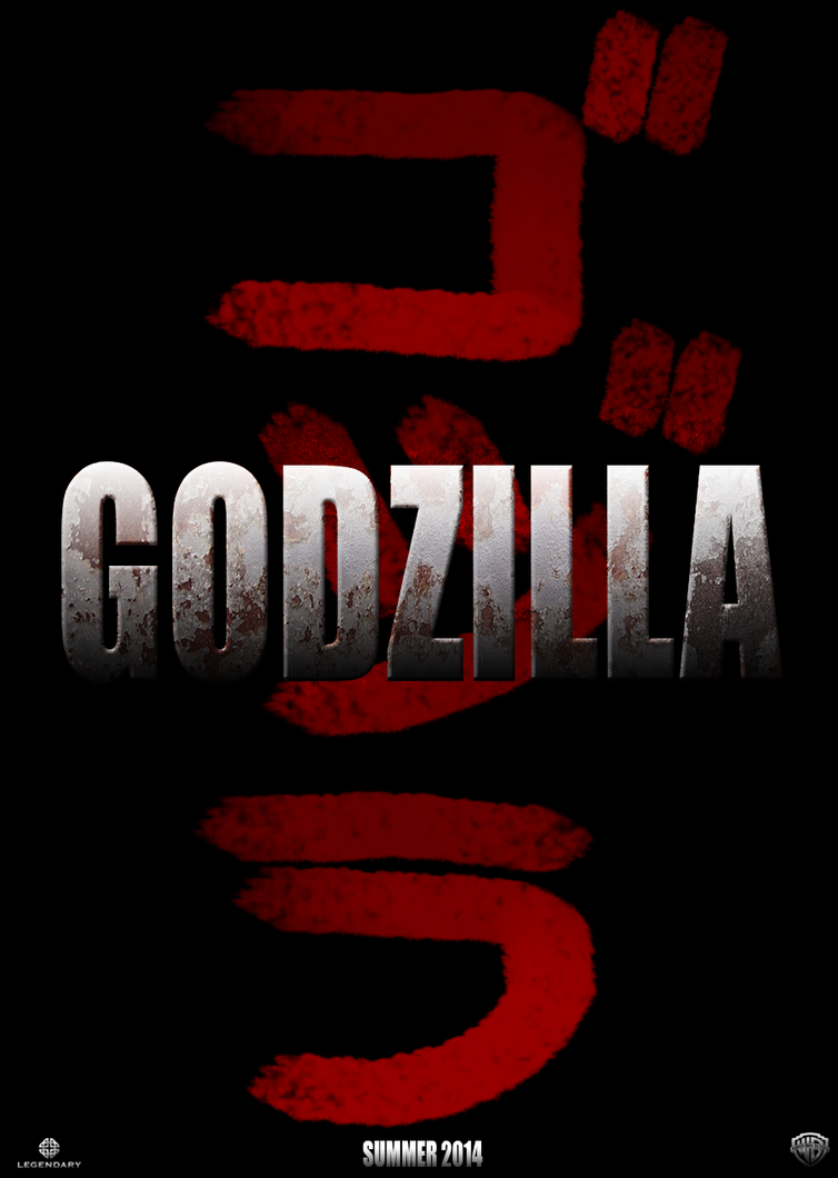 """Poster with """"Godzilla"""" in English with """"Gojira"""" in Japanese behind it."""