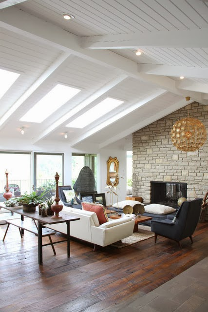 Rosa beltran design exposed wood beams and white painted for Vaulted ceiling exposed beams