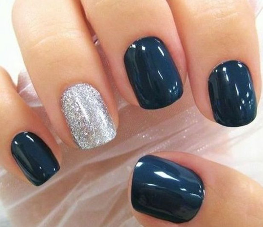 Simple Ring Accent Nail ideas for wedding 2016