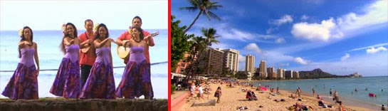 Hula dancers on Waikiki Beach.  A view of Diamond Head.