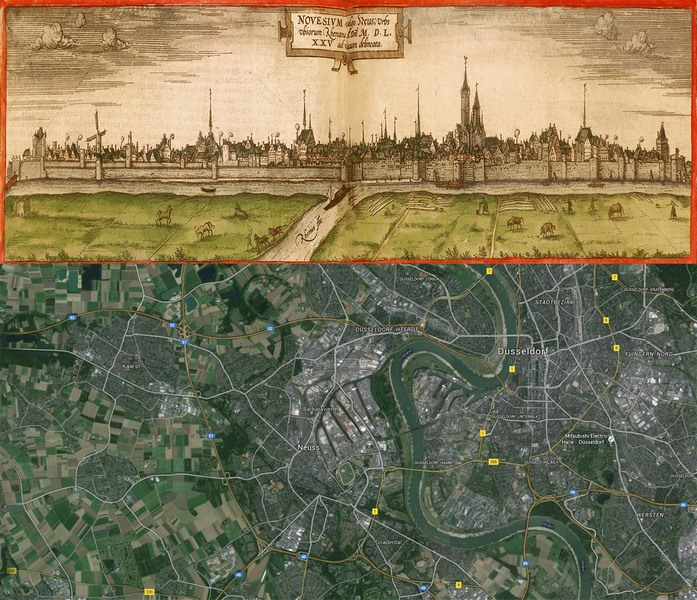 Old Cities Neuss Germany Map Then1575 and Now2016