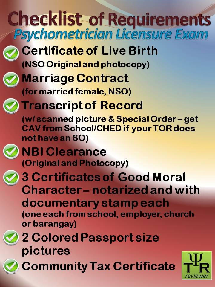 Philippine psychometricians licensure exam reviewer april 2014 re certificates if you are not yet employed then get fromschool church and your barangay one certificate each yelopaper Choice Image