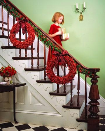decorate the staircase with a  tree