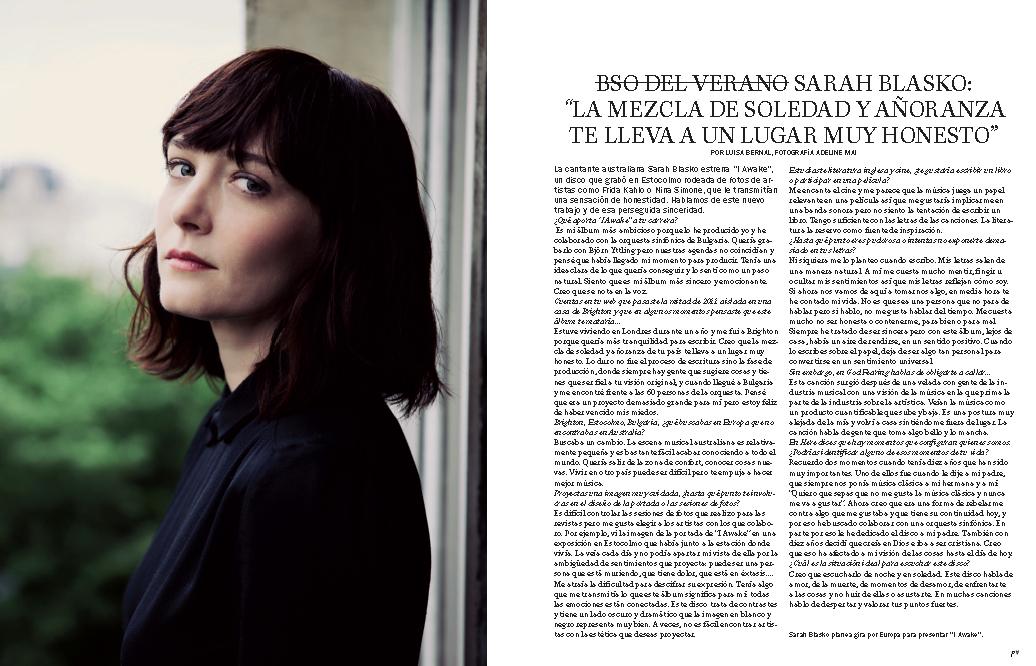 Azul Siena: Sarah Blasko. Vanidad. Julio