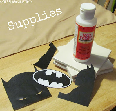 DIY Batman Coasters from itsalwaysruetten.blogspot.com made with #ModPodge #Superhero #Batman #Comic