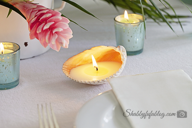 Simple Summer Table With A Seashell Candle DIY - Shabbyfufu
