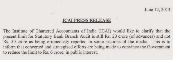 ICAI CLARIFICATION REGARDING BANK AUDIT