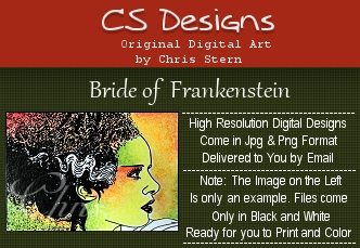 Bride of Frankenstein Halloween Digital Stamp