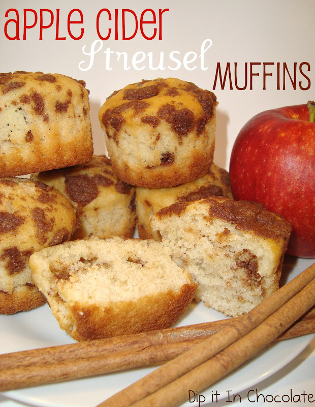 Spiced Apple Cider Streusel Muffins ~ Dip it in Chocolate