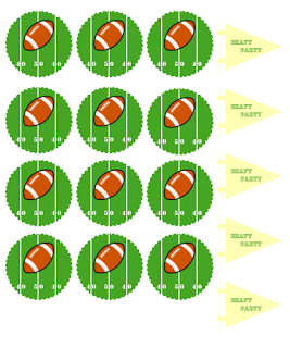 Football Draft Party Tags/Toppers