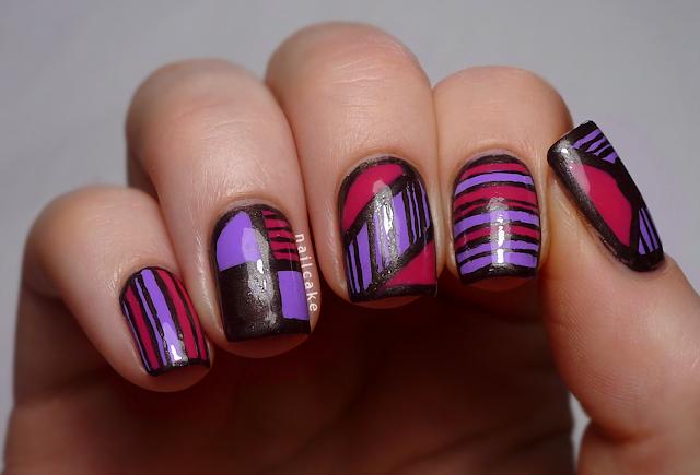 Nail art in mix & match geometric and striped patterns with Illamasqua Jo'Mina, Barry M Shocking Pink & 17 Smokey Marble