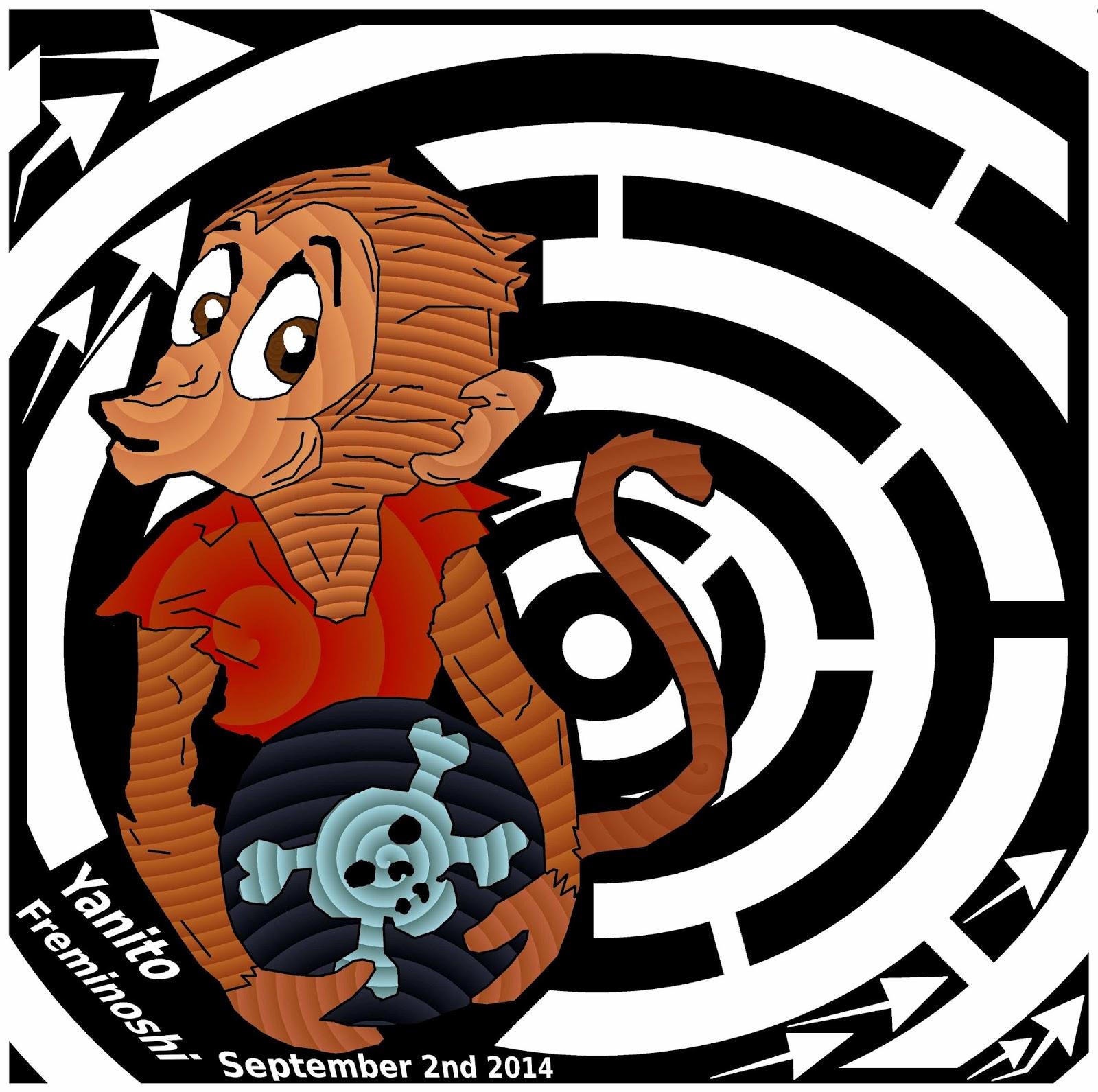 maze of monkey holding cannon ball
