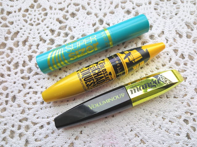 a picture of  Summer Drugstore Mascaras 2015 ; Covergirl Supersizer, Maybelline Colossal Chaotic, L'Oreal Miss Manga Rock
