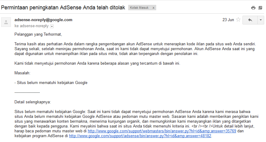 Upgrade Google Adsense ditolak