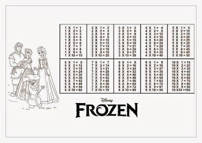 Tabuada para Imprimir Personagens Frozen